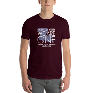 "(MAROON) CHRISTIAN UNITY ""WE ARE ONE"" UNISEX LIGHTWEIGHT T-SHIRT [LOUISIANA]"