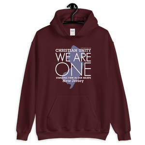 "(MAROON) CHRISTIAN UNITY ""WE ARE ONE"" UNISEX HEAVY BLEND HOODIE [NEW JERSEY]"