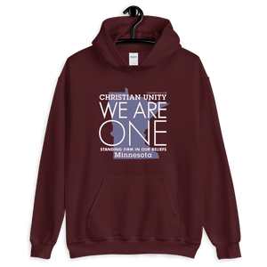 "(MAROON) CHRISTIAN UNITY ""WE ARE ONE"" UNISEX HEAVY BLEND HOODIE [MINNESOTA]"