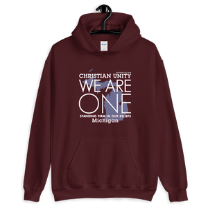 "(MAROON) CHRISTIAN UNITY ""WE ARE ONE"" UNISEX HEAVY BLEND HOODIE [MICHIGAN]"