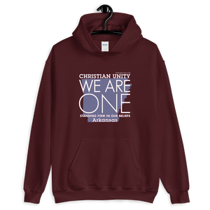 "(MAROON) CHRISTIAN UNITY ""WE ARE ONE"" UNISEX HEAVY BLEND HOODIE [ARKANSAS]"