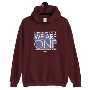 "(MAROON) CHRISTIAN UNITY ""WE ARE ONE"" UNISEX HEAVY BLEND HOODIE [IOWA]"