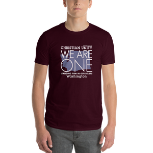 "(MAROON) CHRISTIAN UNITY ""WE ARE ONE"" UNISEX LIGHTWEIGHT T-SHIRT [WASHINGTON]"