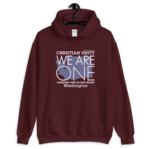"(MAROON) CHRISTIAN UNITY ""WE ARE ONE"" UNISEX HEAVY BLEND HOODIE [WASHINGTON]"