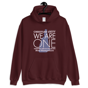 "(MAROON) CHRISTIAN UNITY ""WE ARE ONE"" UNISEX HEAVY BLEND HOODIE [NEW HAMPSHIRE]"