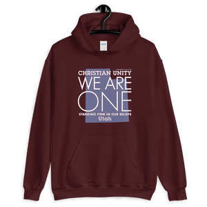 "(MAROON) CHRISTIAN UNITY ""WE ARE ONE"" UNISEX HEAVY BLEND HOODIE [UTAH]"
