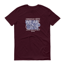 "Load image into Gallery viewer, (MAROON) CHRISTIAN UNITY ""WE ARE ONE"" UNISEX LIGHTWEIGHT T-SHIRT [IOWA]"