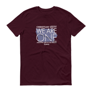 "(MAROON) CHRISTIAN UNITY ""WE ARE ONE"" UNISEX LIGHTWEIGHT T-SHIRT [IOWA]"