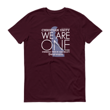 "Load image into Gallery viewer, (MAROON) CHRISTIAN UNITY ""WE ARE ONE"" UNISEX LIGHTWEIGHT T-SHIRT [DELAWARE]"
