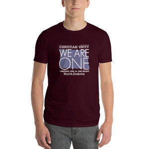 "(MAROON) CHRISTIAN UNITY ""WE ARE ONE"" UNISEX LIGHTWEIGHT T-SHIRT [NORTH DAKOTA]"