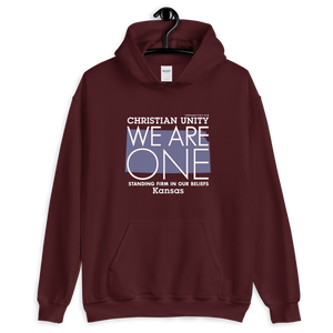 "(MAROON) CHRISTIAN UNITY ""WE ARE ONE"" UNISEX HEAVY BLEND HOODIE [KANSAS]"