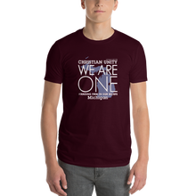 "Load image into Gallery viewer, (MAROON) CHRISTIAN UNITY ""WE ARE ONE"" UNISEX LIGHTWEIGHT T-SHIRT [MICHIGAN]"