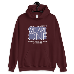 "(MAROON) CHRISTIAN UNITY ""WE ARE ONE"" HEAVY BLEND HOODIE [COLORADO]"