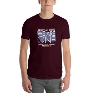 "(MAROON) CHRISTIAN UNITY ""WE ARE ONE"" UNISEX LIGHTWEIGHT T-SHIRT [MONTANA]"