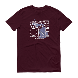"(MAROON) CHRISTIAN UNITY ""WE ARE ONE"" UNISEX LIGHTWEIGHT T-SHIRT [MICHIGAN]"