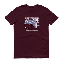 "Load image into Gallery viewer, (MAROON) CHRISTIAN UNITY ""WE ARE ONE"" UNISEX LIGHTWEIGHT T-SHIRT [MASSACHUSETTS]"