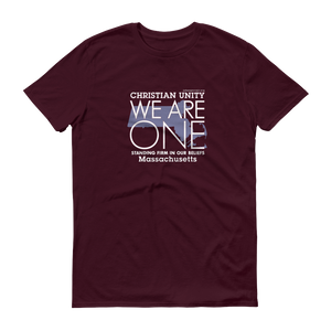 "(MAROON) CHRISTIAN UNITY ""WE ARE ONE"" UNISEX LIGHTWEIGHT T-SHIRT [MASSACHUSETTS]"
