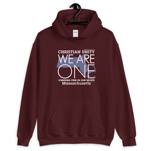 "(MAROON) CHRISTIAN UNITY ""WE ARE ONE"" UNISEX HEAVY BLEND HOODIE [MASSACHUSETTS]"