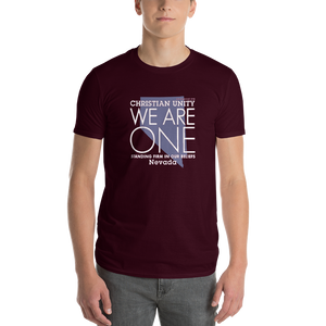 "(MAROON) CHRISTIAN UNITY ""WE ARE ONE"" UNISEX LIGHTWEIGHT T-SHIRT [NEVADA]"