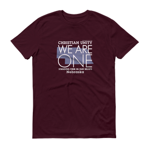 "(MAROON) CHRISTIAN UNITY ""WE ARE ONE"" UNISEX LIGHTWEIGHT T-SHIRT [NEBRASKA]"