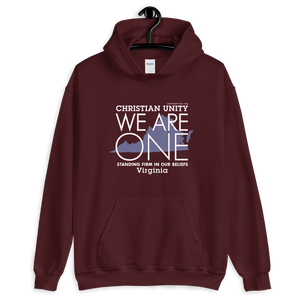 "(MAROON) CHRISTIAN UNITY ""WE ARE ONE"" UNISEX HEAVY BLEND HOODIE [VIRGINIA]"