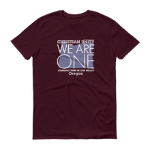"Load image into Gallery viewer, (MAROON) CHRISTIAN UNITY ""WE ARE ONE"" UNISEX LIGHTWEIGHT T-SHIRT [OREGON]"