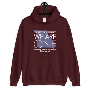 "(MAROON) CHRISTIAN UNITY ""WE ARE ONE"" UNISEX HEAVY BLEND HOODIE [MISSOURI]"