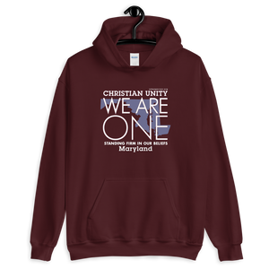 "(MAROON) CHRISTIAN UNITY ""WE ARE ONE"" UNISEX HEAVY BLEND HOODIE [MARYLAND]"