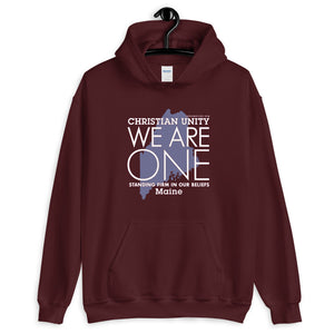 "(MAROON) CHRISTIAN UNITY ""WE ARE ONE"" UNISEX HEAVY BLEND HOODIE [MAINE]"