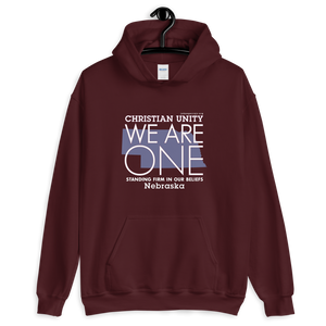 "(MAROON) CHRISTIAN UNITY ""WE ARE ONE"" UNISEX HEAVY BLEND HOODIE [NEBRASKA]"