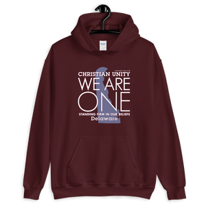 "(MAROON) CHRISTIAN UNITY ""WE ARE ONE"" UNISEX HEAVY BLEND HOODIE [DELAWARE]"