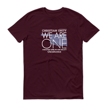 "Load image into Gallery viewer, (MAROON) CHRISTIAN UNITY ""WE ARE ONE"" UNISEX LIGHTWEIGHT T-SHIRT [OKLAHOMA]"
