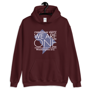 "(MAROON) CHRISTIAN UNITY ""WE ARE ONE"" UNISEX HEAVY BLEND HOODIE [WASHINGTON, D.C.]"