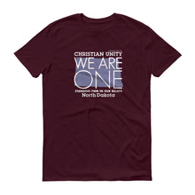 "Load image into Gallery viewer, (MAROON) CHRISTIAN UNITY ""WE ARE ONE"" UNISEX LIGHTWEIGHT T-SHIRT [NORTH DAKOTA]"