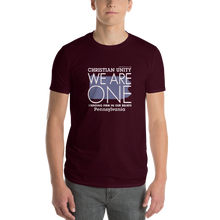 "Load image into Gallery viewer, (MAROON) CHRISTIAN UNITY ""WE ARE ONE"" UNISEX LIGHTWEIGHT T-SHIRT [PENNSYLVANIA]"
