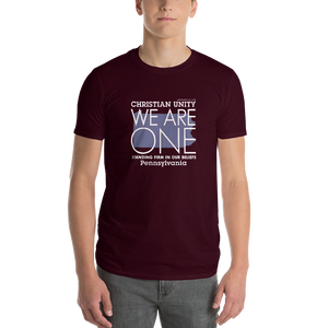 "(MAROON) CHRISTIAN UNITY ""WE ARE ONE"" UNISEX LIGHTWEIGHT T-SHIRT [PENNSYLVANIA]"