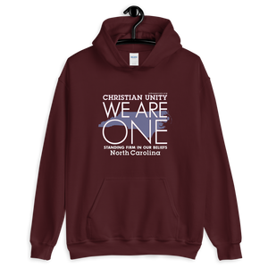"(MAROON) CHRISTIAN UNITY ""WE ARE ONE"" UNISEX HEAVY BLEND HOODIE [NORTH CAROLINA]"
