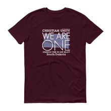 "Load image into Gallery viewer, (MAROON) CHRISTIAN UNITY ""WE ARE ONE"" UNISEX LIGHTWEIGHT T-SHIRT [SOUTH DAKOTA]"