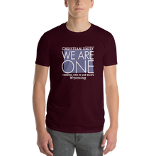 "Load image into Gallery viewer, (MAROON) CHRISTIAN UNITY ""WE ARE ONE"" UNISEX LIGHTWEIGHT T-SHIRT [WYOMING]"