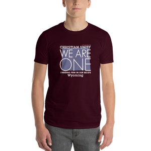"(MAROON) CHRISTIAN UNITY ""WE ARE ONE"" UNISEX LIGHTWEIGHT T-SHIRT [WYOMING]"