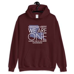 "(MAROON) CHRISTIAN UNITY ""WE ARE ONE"" UNISEX HEAVY BLEND HOODIE [LOUISIANA]"