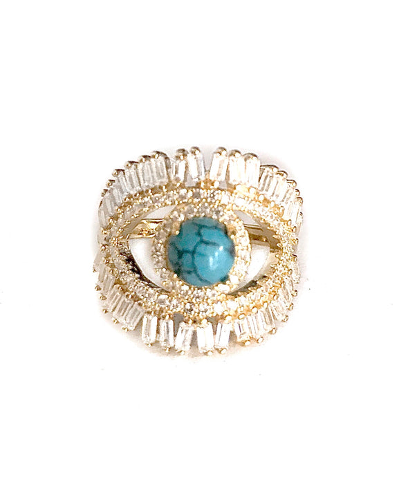 Crystal blue eye ring