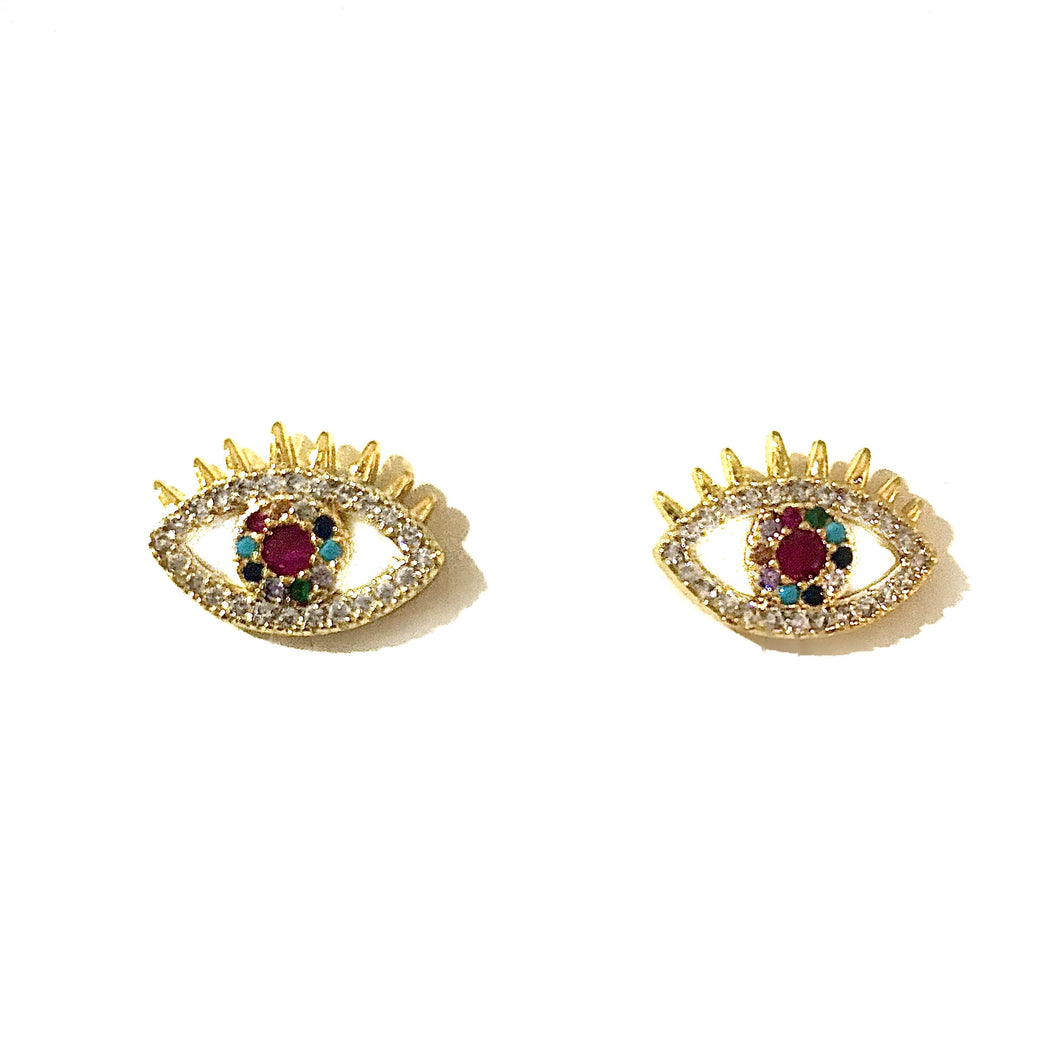 Crystal Coloured Eye Gold Studs
