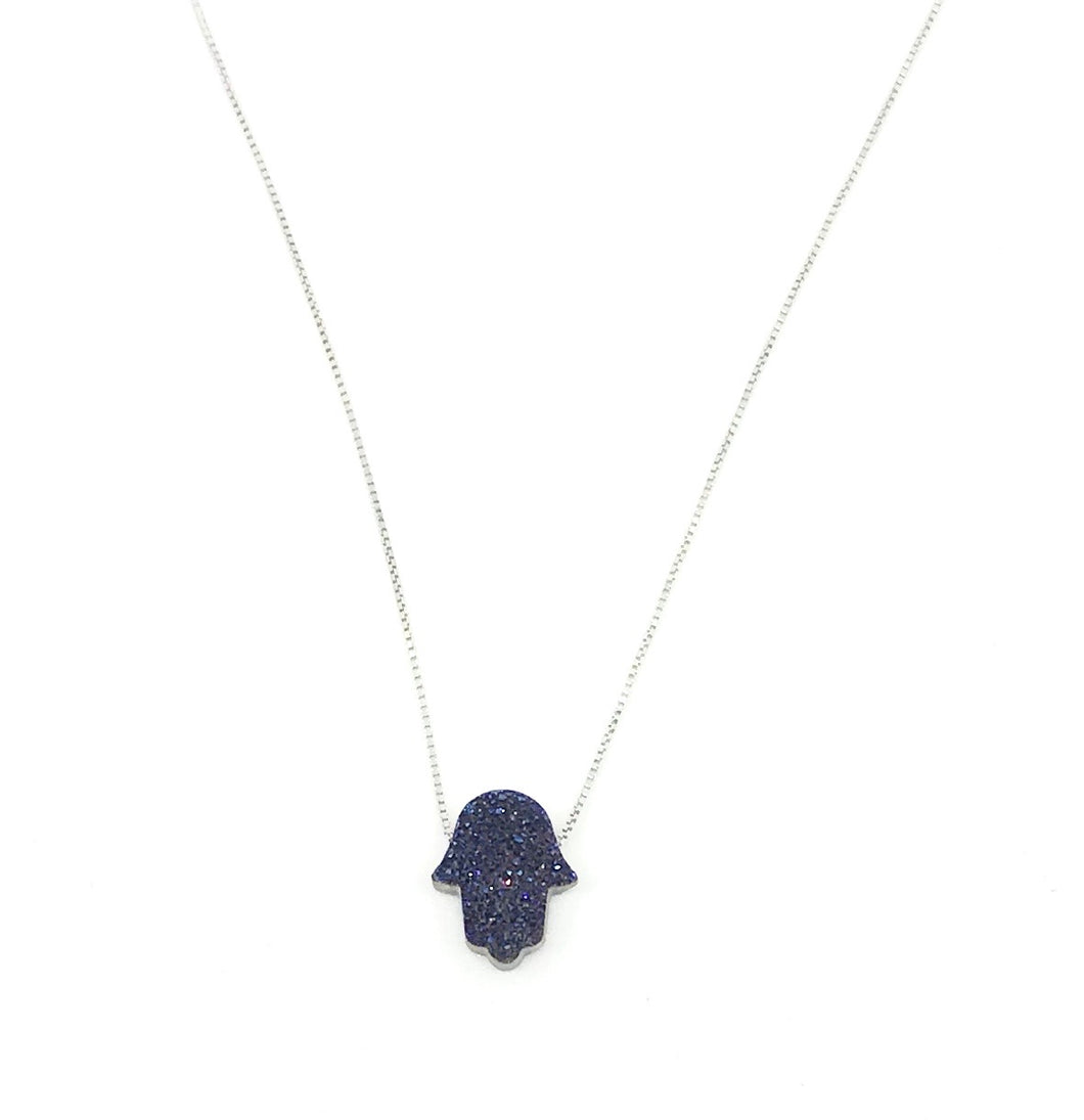 Little Hand protect me blue necklace