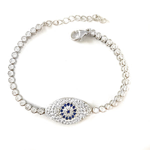 Keep safe silver eye bracelet
