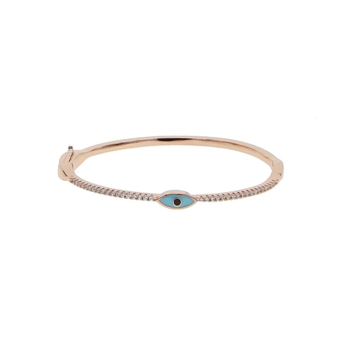 Blue eye rose gold bangle