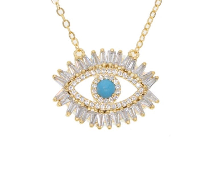Crystal blue eye necklace gold