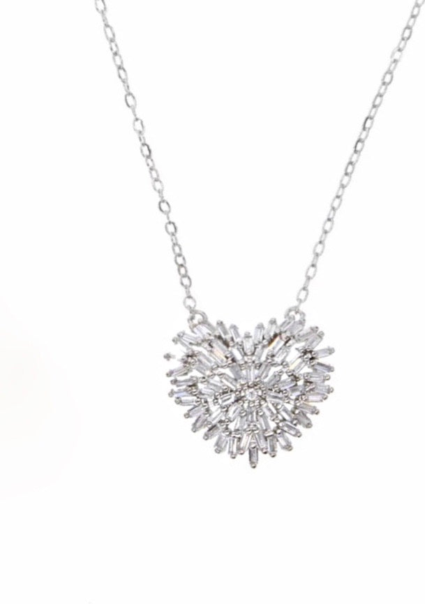 Silver Baguette heart necklace