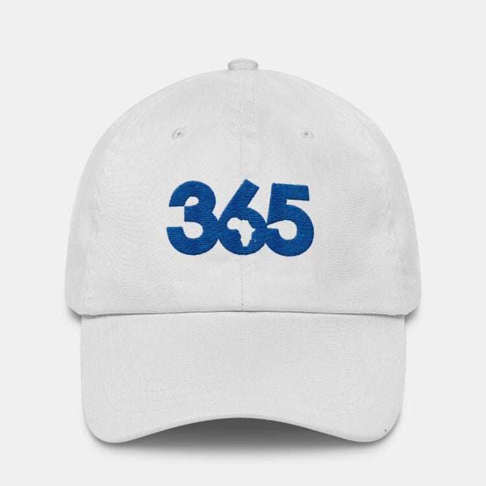 White 365 Hat w/ Blue