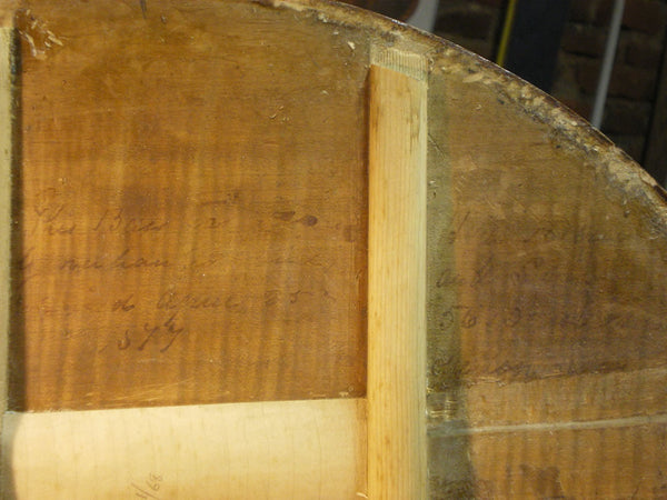 "Labels and inscription inside the ""Ex-Gordon Neal"" 5-string double bass by Ferdinand Seitz"